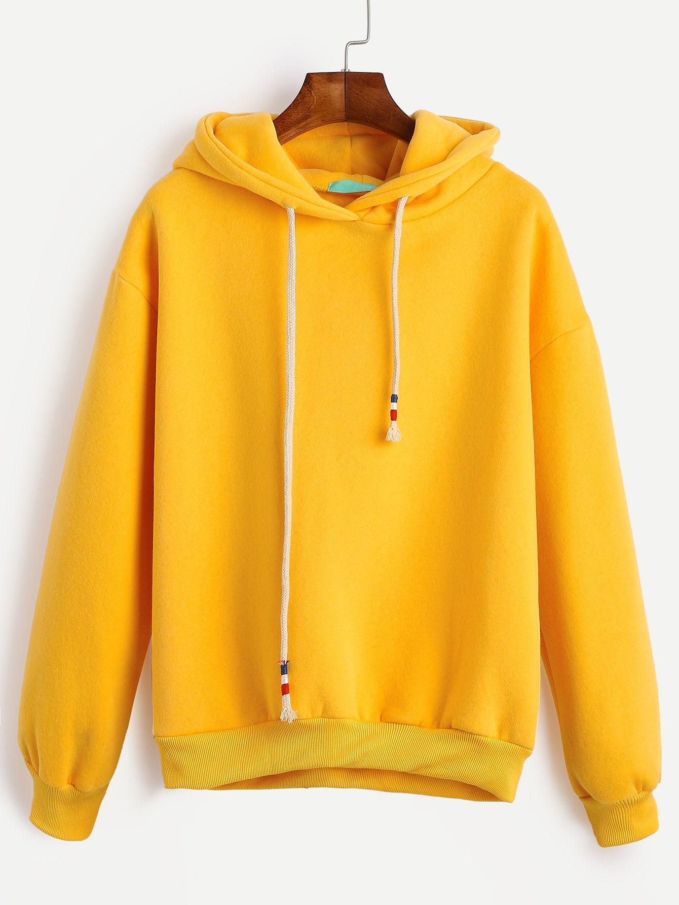 f66e5197e1 Shop Yellow Drop Shoulder Drawstring Hooded Sweatshirt online. SheIn offers  Yellow Drop Shoulder Drawstring Hooded Sweatshirt & more to fit your  fashionable ...