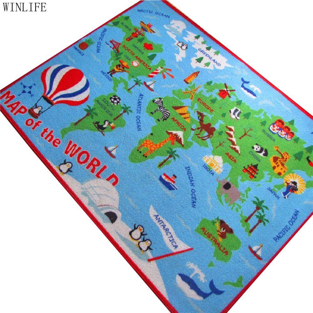 Winlife world map carpet cartoon kids rug carpets rugs winlife world map carpet cartoon kids rug gumiabroncs Image collections