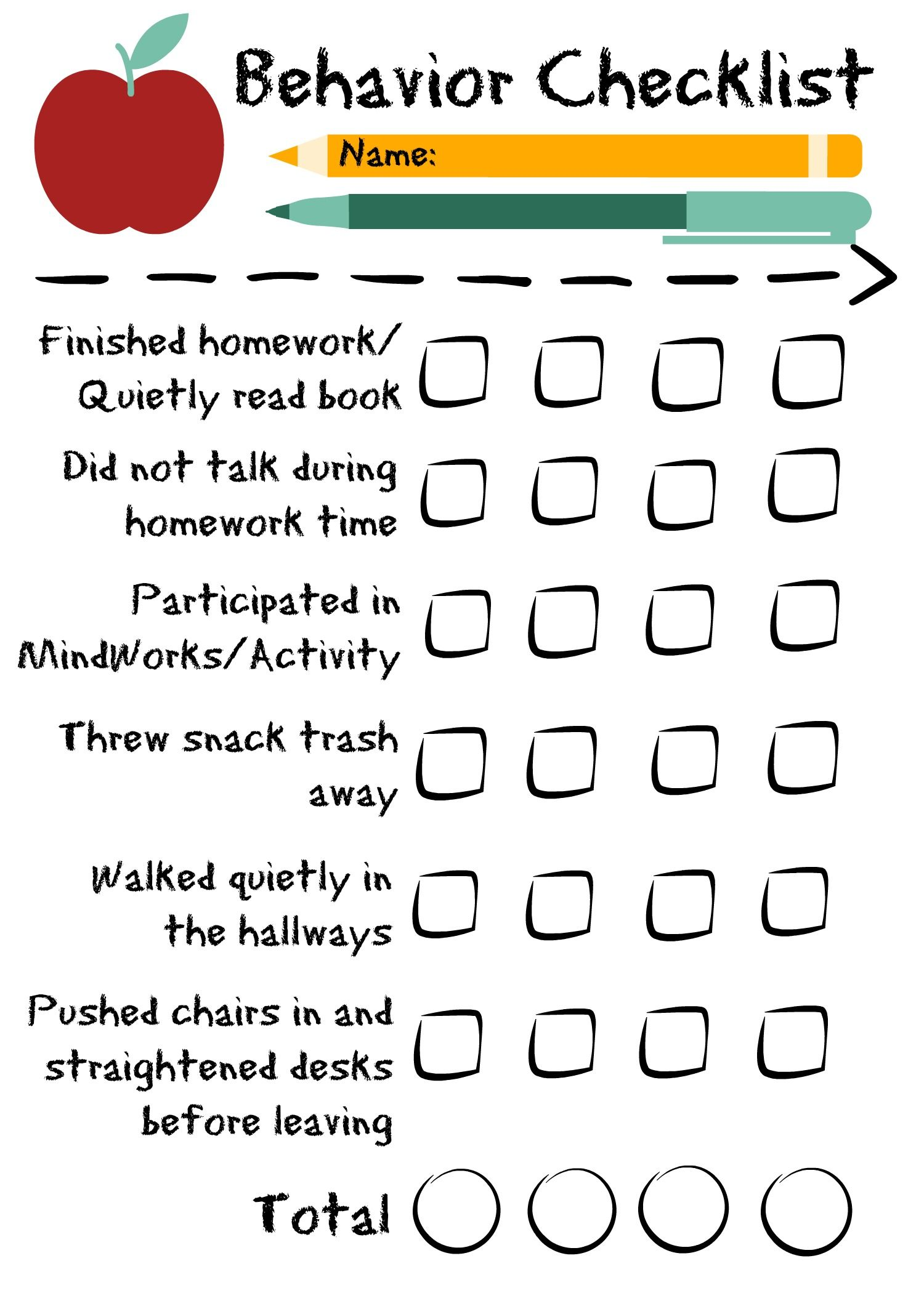 Behavior Checklist For The Classroom Good For Students In