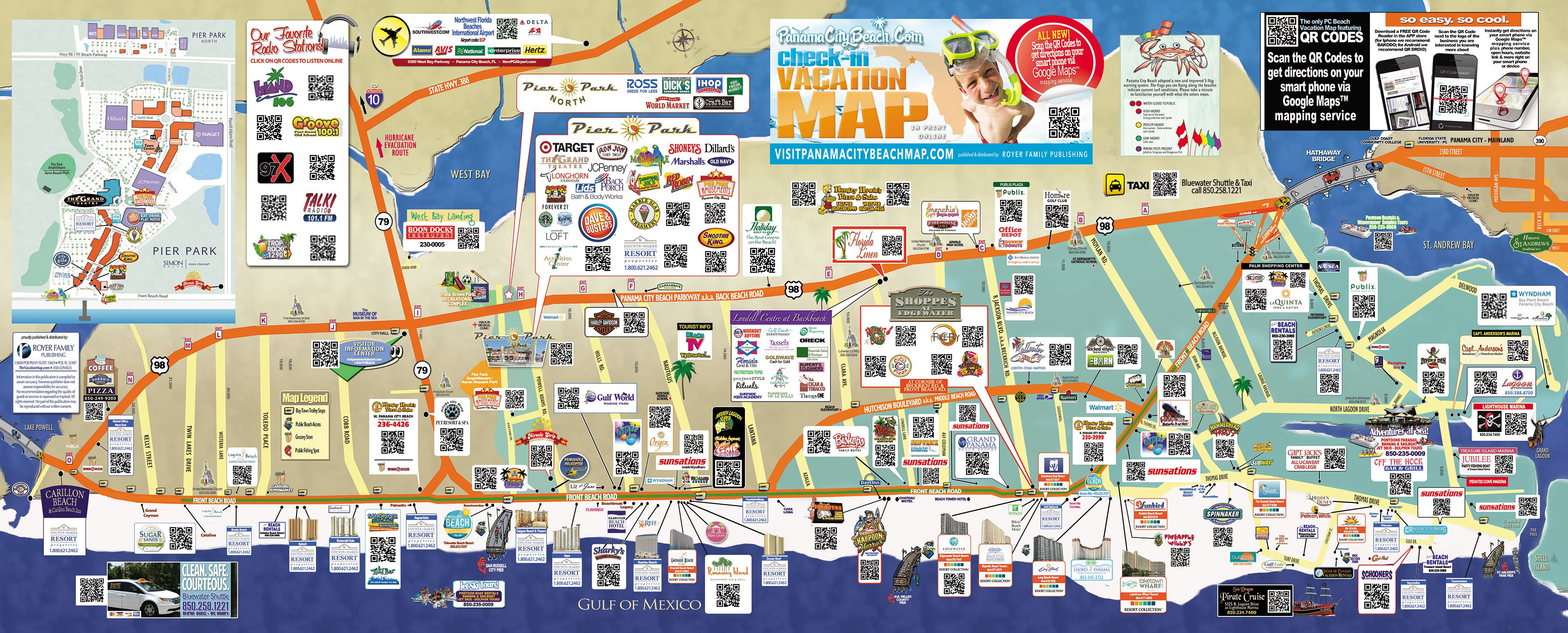 Panama City Beach Map Tourist map of Panama City Beach | To the Beach! | Panama city  Panama City Beach Map