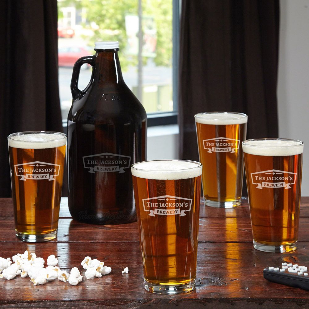 Classic Brewery Personalized Beer Glasses And Growler Get Crafty