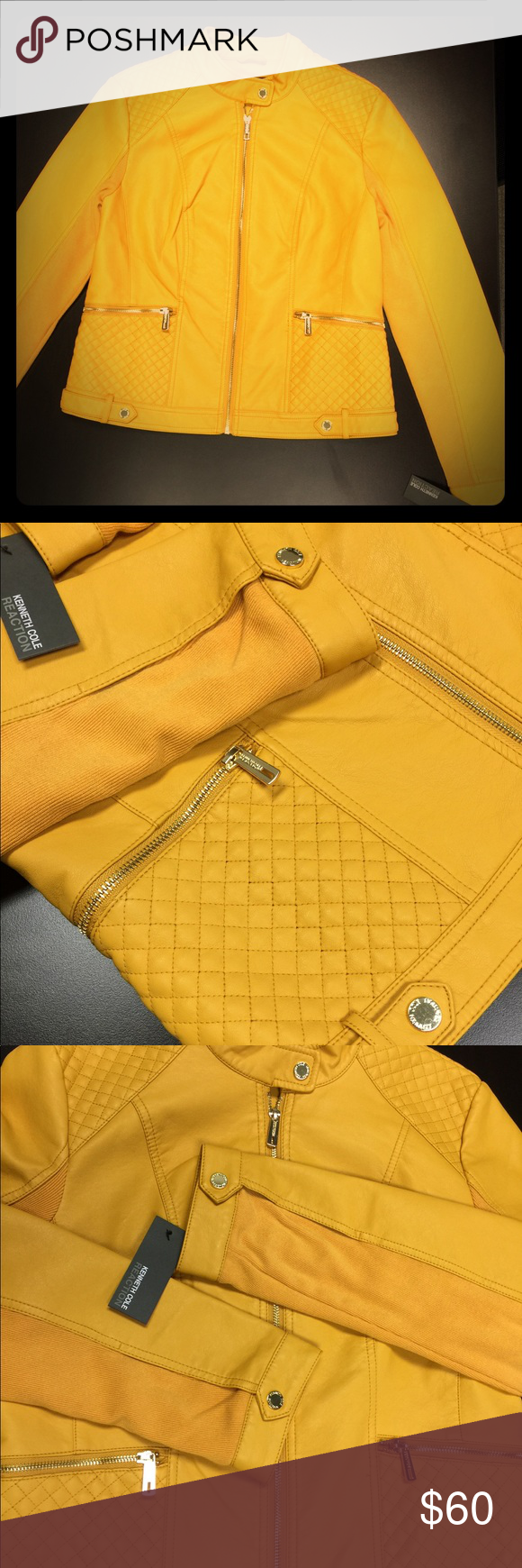 Reaction Vegan Leather Ribbed Knit Jkt Awesome