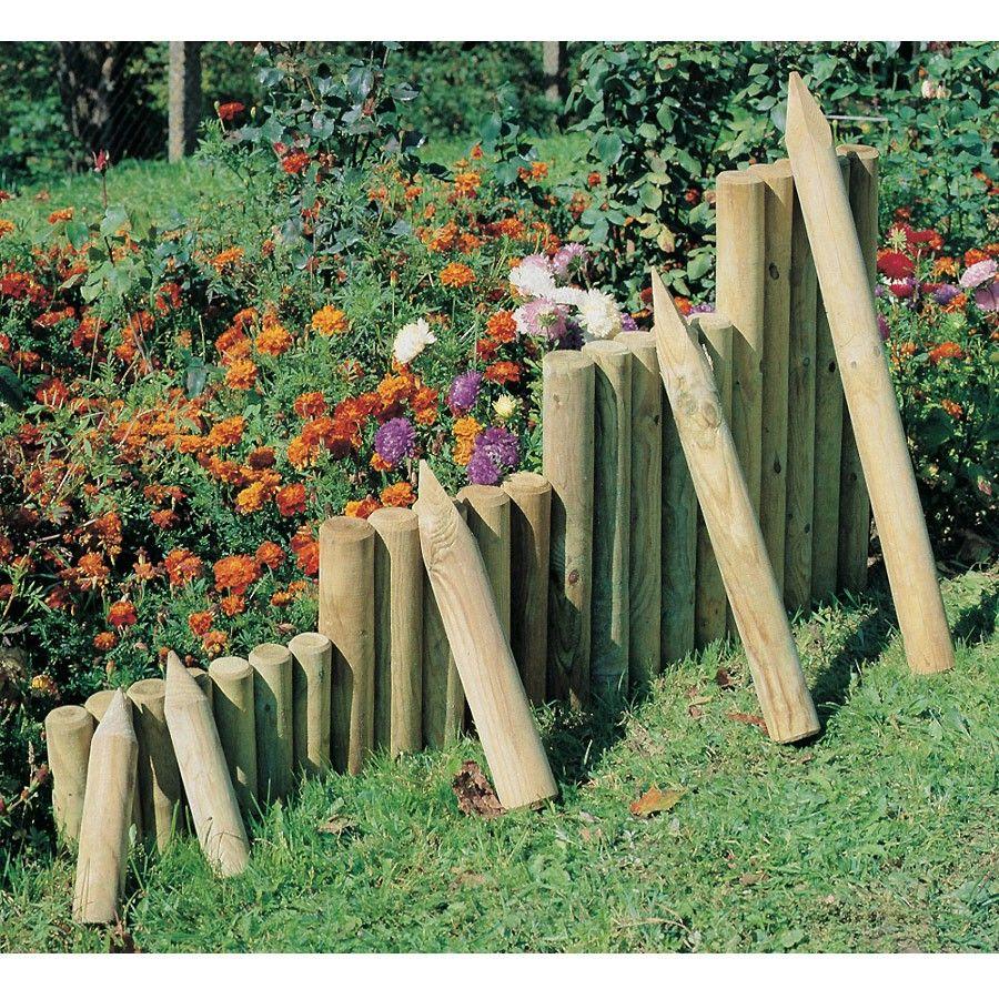 Palisade O 6 30 60 Cm Und O 8 50 75 Cm Holz Kdi Zur Beetumrandung Palisaden Beetumrandung Garten