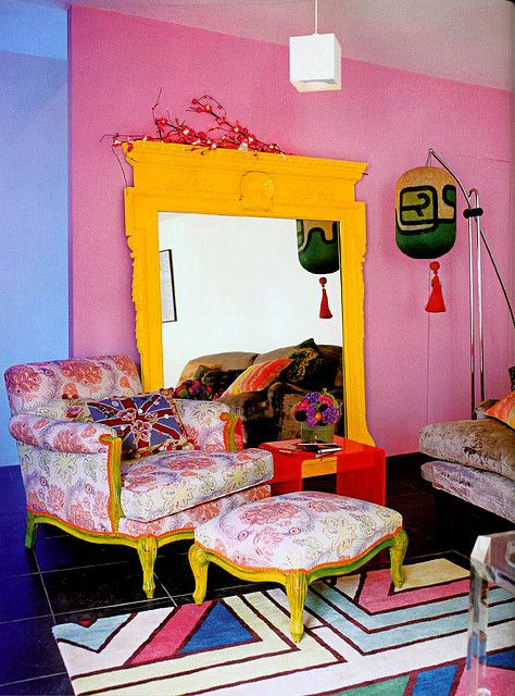 LOVE this yellow mirror and chair  and they were all