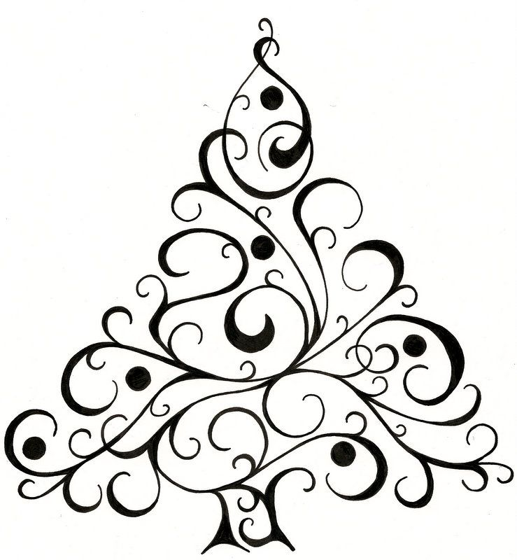 Line Art Card Design : Christmas tree design for cards