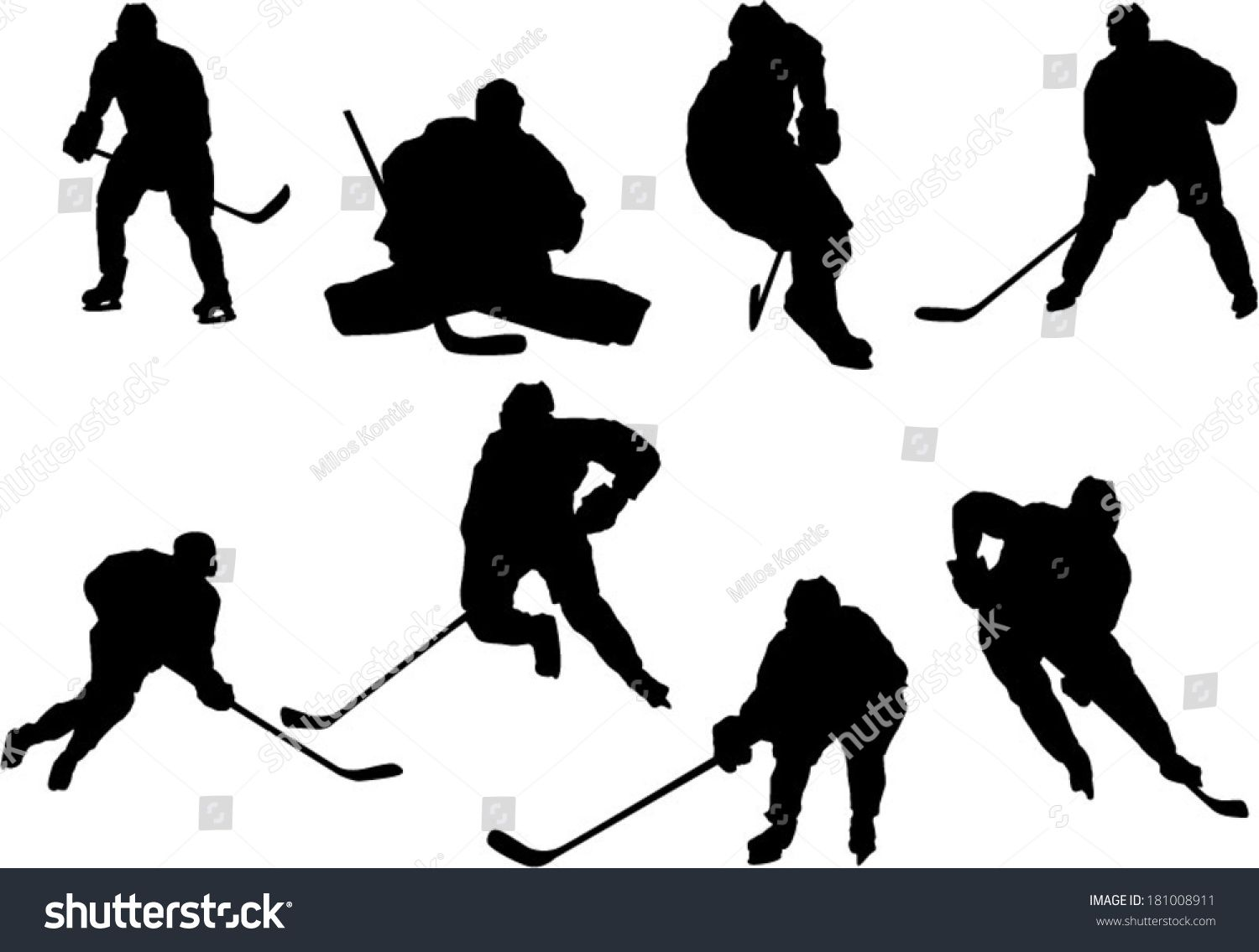The Set Of Hockey Player Silhouettes Ad Affiliate Hockey Set Silhouettes Player In 2020 Hockey Players Silhouette Players