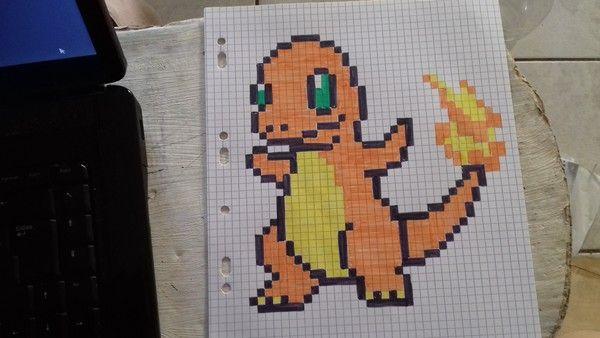 Salameche Dessin Quadrillage Pixel Art Pokemon Et Dessin