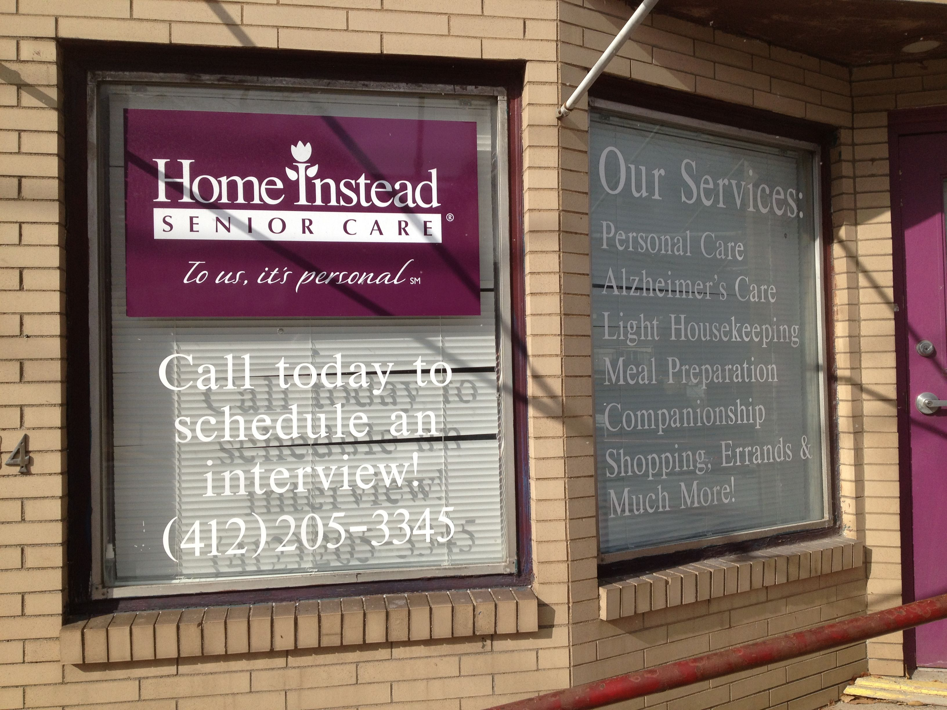 Home Instead Senior Care Window Graphics And Lettering Window Graphics Lettering Shop Front Design