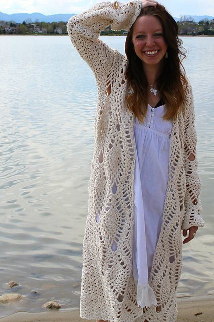 Revelry: The Pineapple Robe pattern by Sara Dudek...for my crocheting friends...this would be awesome for Autumn! ;)