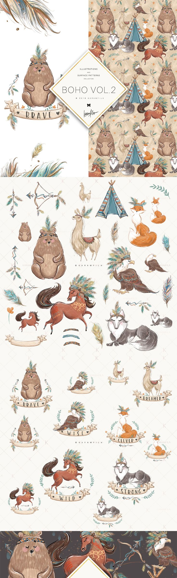 Boho Animals Clipart Clip Art Bear Clipart Custom