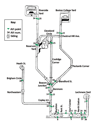 Boston streetcar (Green Line) track map | Transit maps | Pinterest
