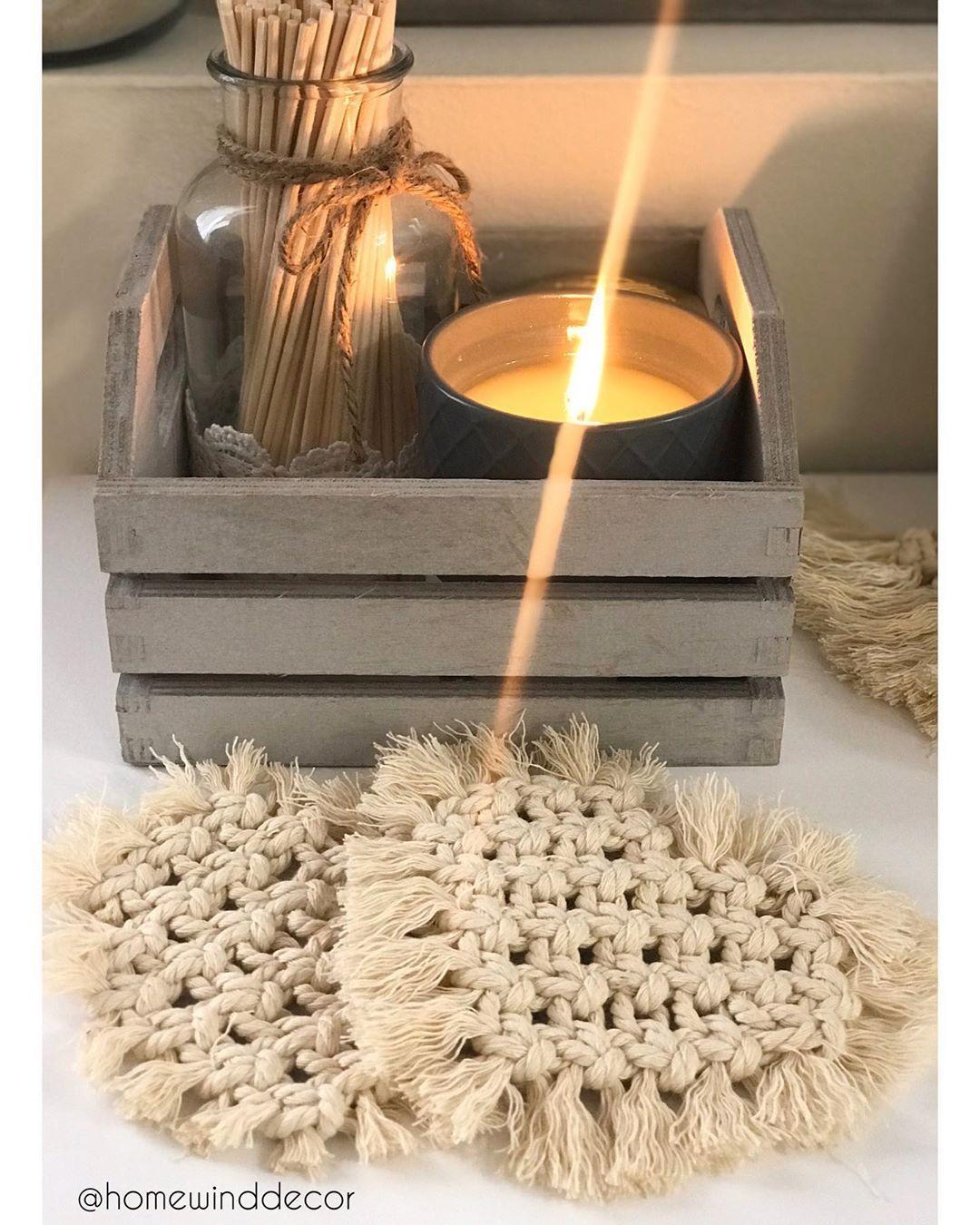 "Handmade Décor on Instagram: ""Candles & heart mug rugs are a whole vibe ✨ • • • #handmadehomedecor #homedecor #home #heart #heartmugrugs #heartrugs #heartcoasters…"""