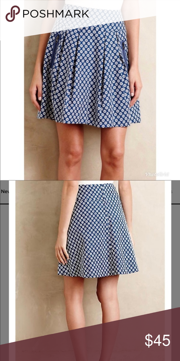 70c4681a82 Looks like new *all measurements are approximate Anthropologie Maeve Fourth  Street Swing Skirt. Beautiful blue and white motif print.
