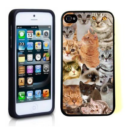 Amazon.com: iPhone 5 5S Case ThinShell TPU Case Protective iPhone 5 5S Case Shawnex The Cat Collage Cats: Cell Phones & Accessories