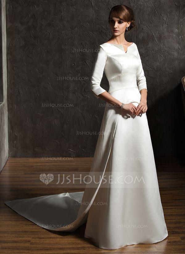 Forme Princesse Epaules nues Traîne watteau Satin Robe de mariée (002004779) - JJsHouse