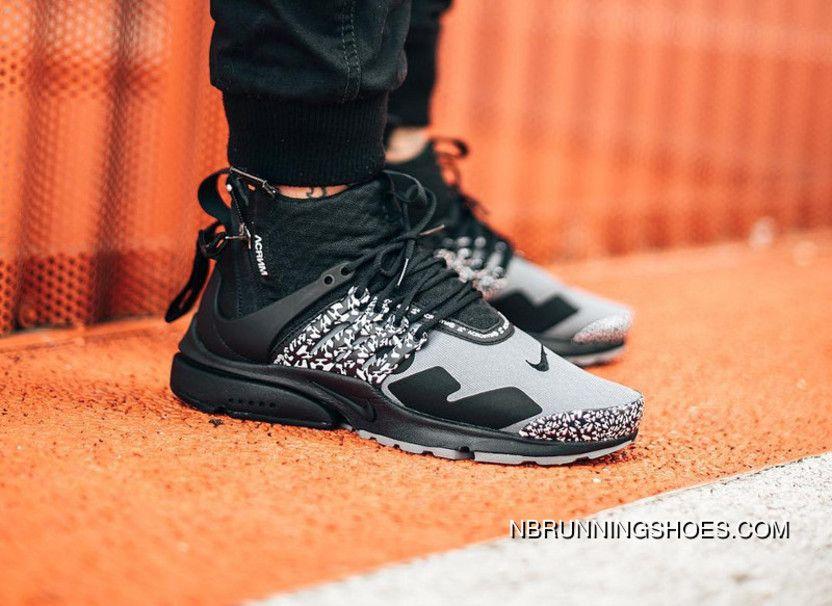super popular 037be 83046 2018 ACRONYM X NikeLab Air Presto Mid AH7832-001 Cool GreyBlack Running  Shoes Online