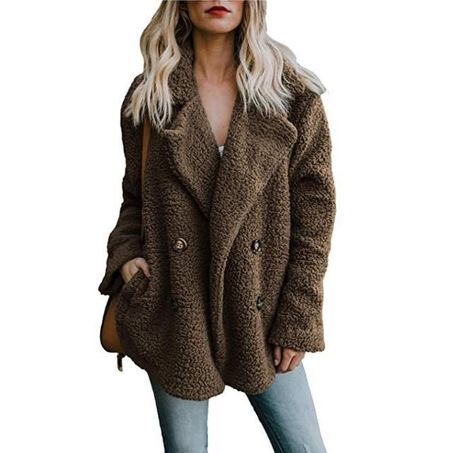 Womens Jacket Winter Coat Women Cardigans Ladies Warm Jumper Fleece Coats Button Wool Outwear Plus Size 3XL