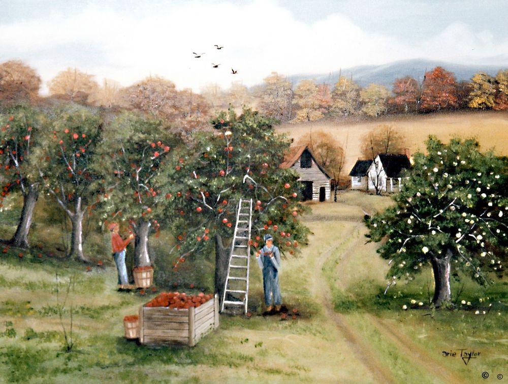 Landscape Apple Orchard Picking Apples Fall Folk Art by