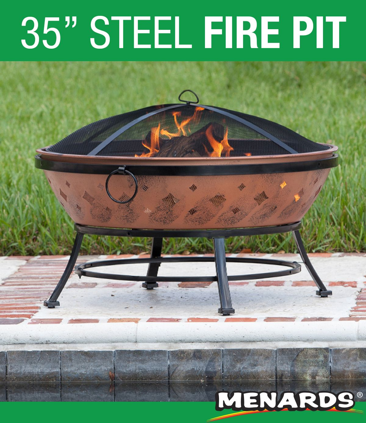The Oversized Bowl Is Perfect For Building Larger Fires For Outdoor Backyard Gatherings This 35 Inch W Wood Burning Fire Pit Fire Pit Steel Fire Pit