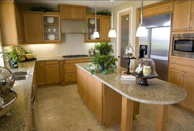 cocina-pequena-estrecha-isla-marmol.jpeg (760×514) | diseño cocinas ...