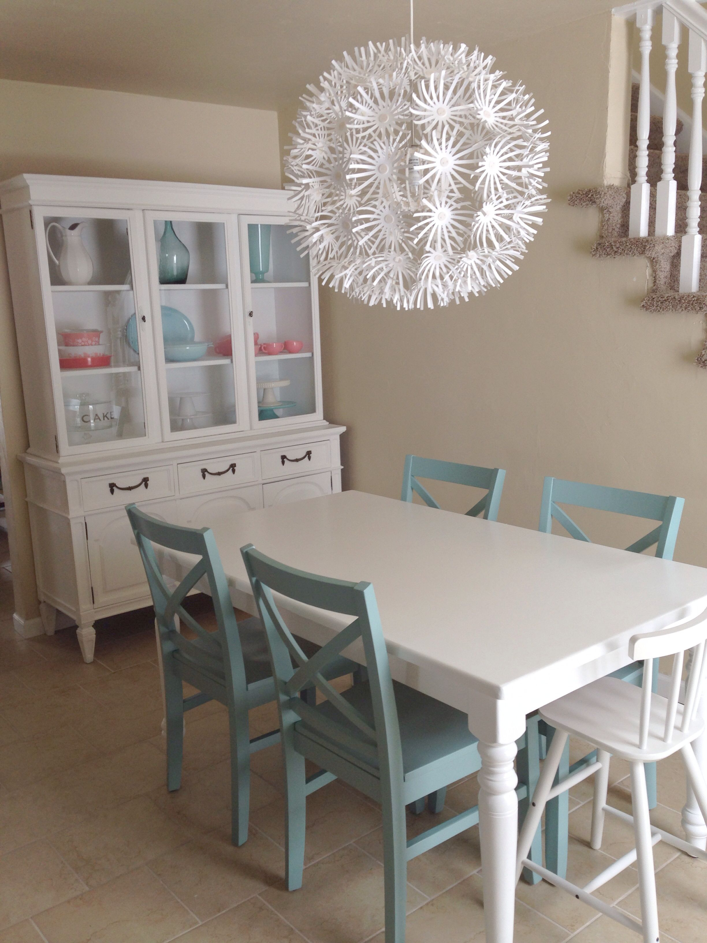 Painted Hutch Target Chairs And Ikea Light