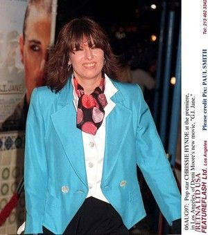 06AUG97: Pop star CHRISSIE HYNDE at the premiere, in Los Angeles, of Demi Moore's new movie, 'G.I. Jane.