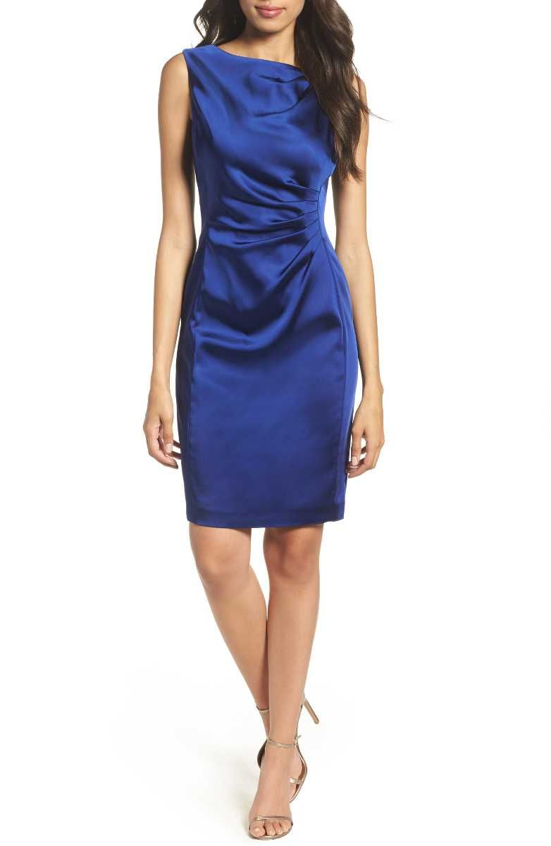 Tahari stretch satin sheath dress in blue petite sapphirehued