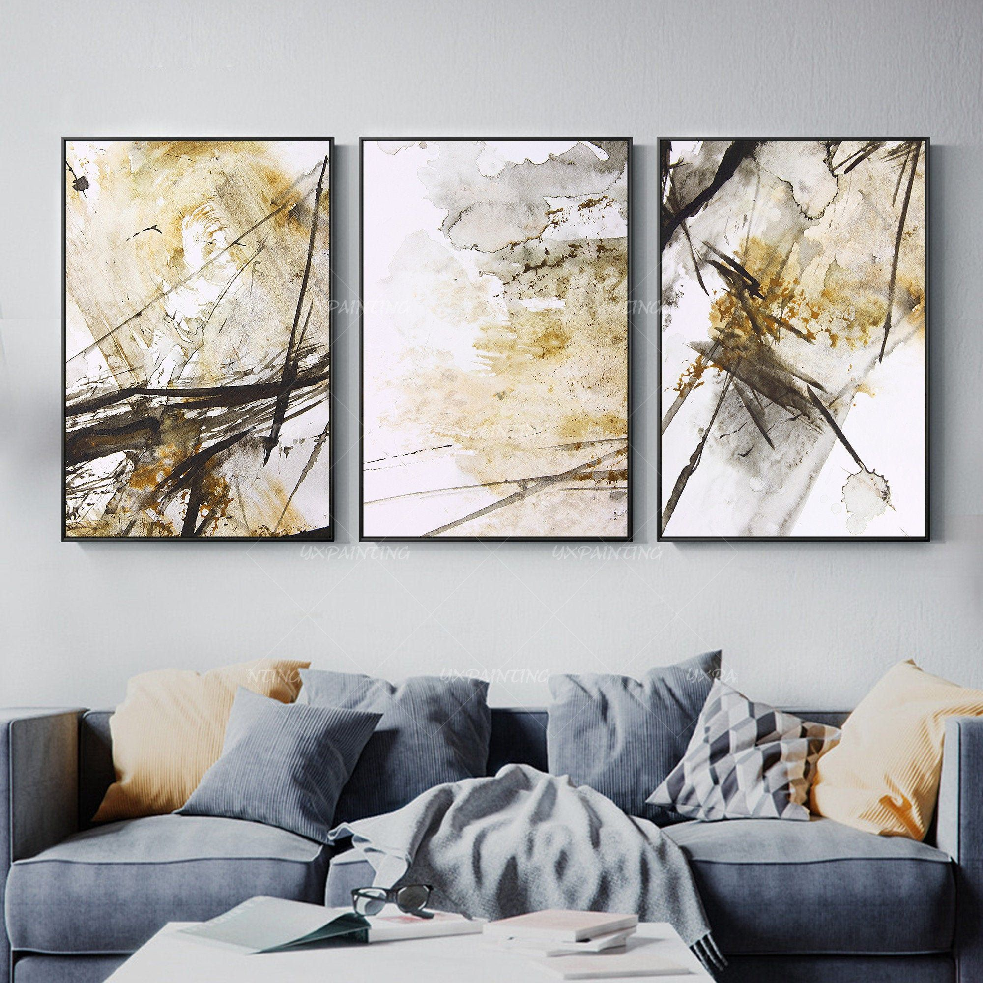 3 Pieces Wall Art Abstract Print Art Painting Set Of 3 Wall Etsy Large Abstract Painting 3 Piece Wall Art Painting Frames