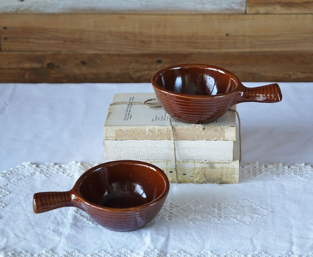 Vintage soup bowls with handles - Set of 2 pottery bowls - Brown ...