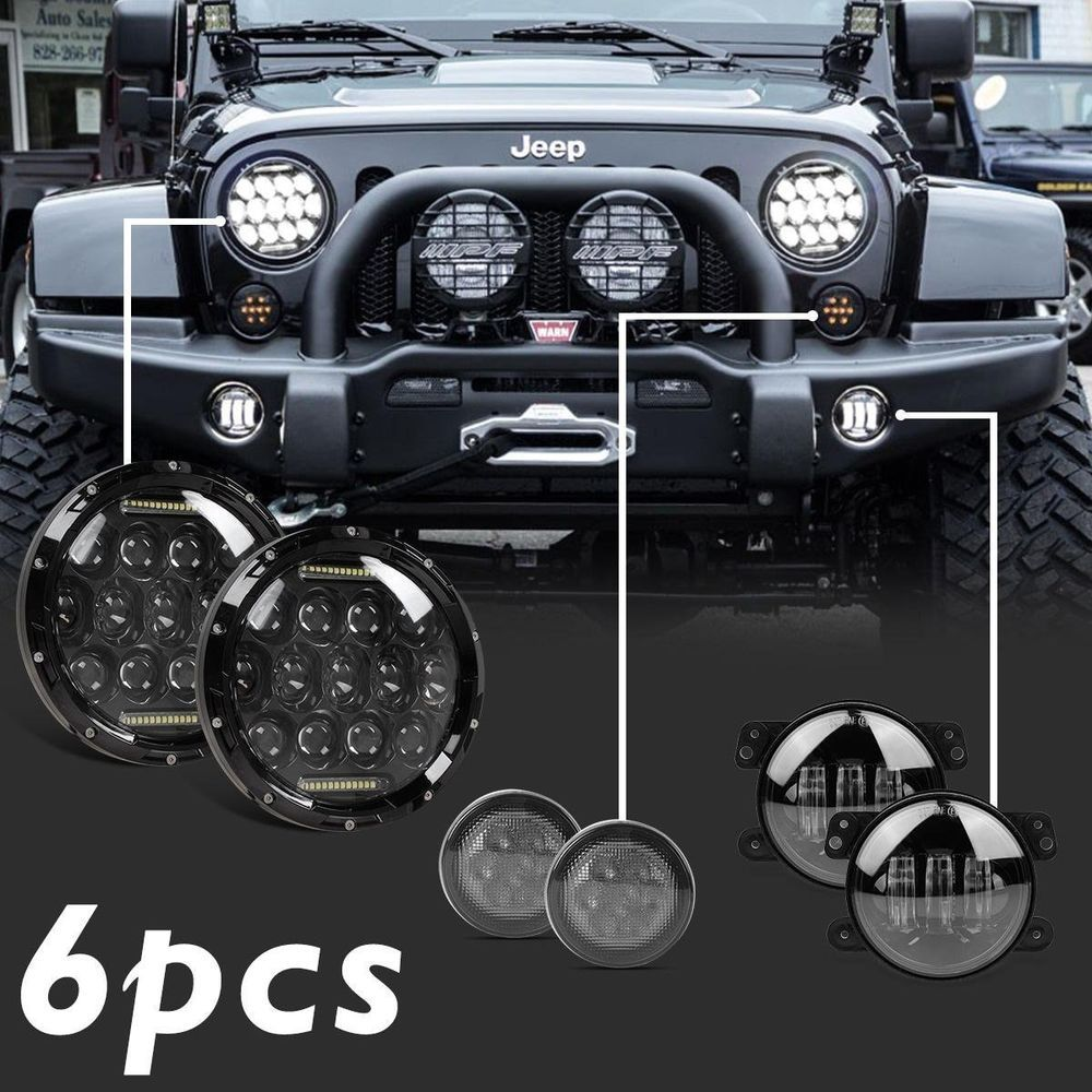 7 Led Headlights Amber Turn Signal Light 4 Fog Lamp Kit For Jeep Wrangler Jk Lights Ebay Motors Parts Accessories Car Truck
