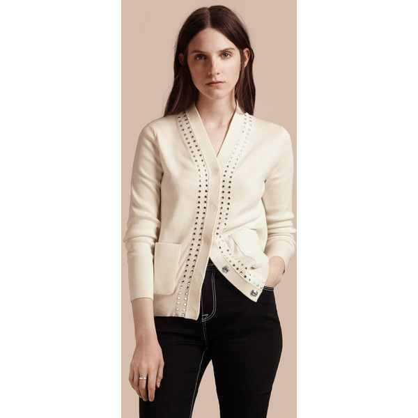Burberry Cotton V-neck Cardigan With Studs (€525) found on Polyvore featuring women's fashion, tops, cardigans, v-neck cardigan, cardigan top, cotton v neck cardigan, pink cardigan and studded top