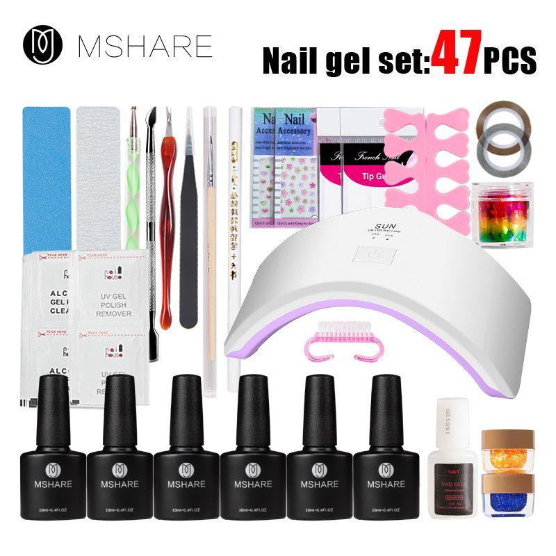 MSHARE 47Pcs UV LED 18W Manicure Tool Nail Gel Lamp UV LED Lamp Nail ...