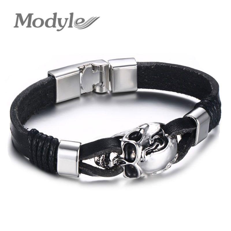 Modyle Men Genuine Leather Skull Bracelets Rock Punk Stainless ...