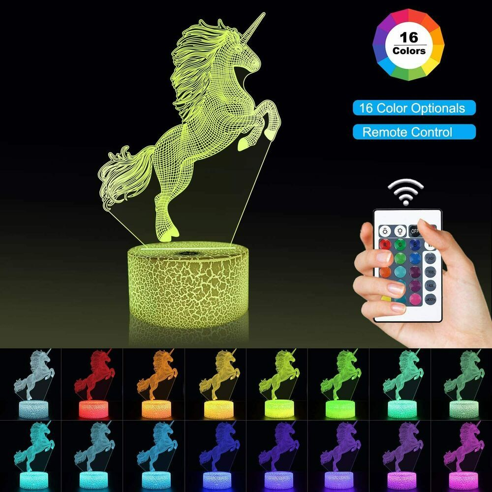 Unicorn Night Light For Kids 3d Illusion Lamp Remote Control 16 Colours Gift Unbranded Nightlights In 2020 3d Illusion Lamp 3d Illusions Illusions