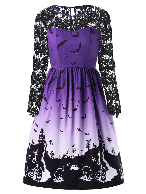 Halloween plus size lace panel bat print dress dresses