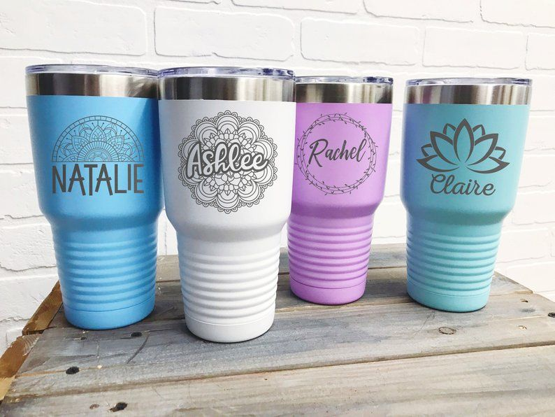 Teacher Appreciation Bachelorette Bridal Wedding Gifts ENGRAVED Stainless Coffee Cup Any Name Or Saying Travel Mug Mothers Day ONE 20 oz Personalized Coffee Tumbler Insulated Tumbler
