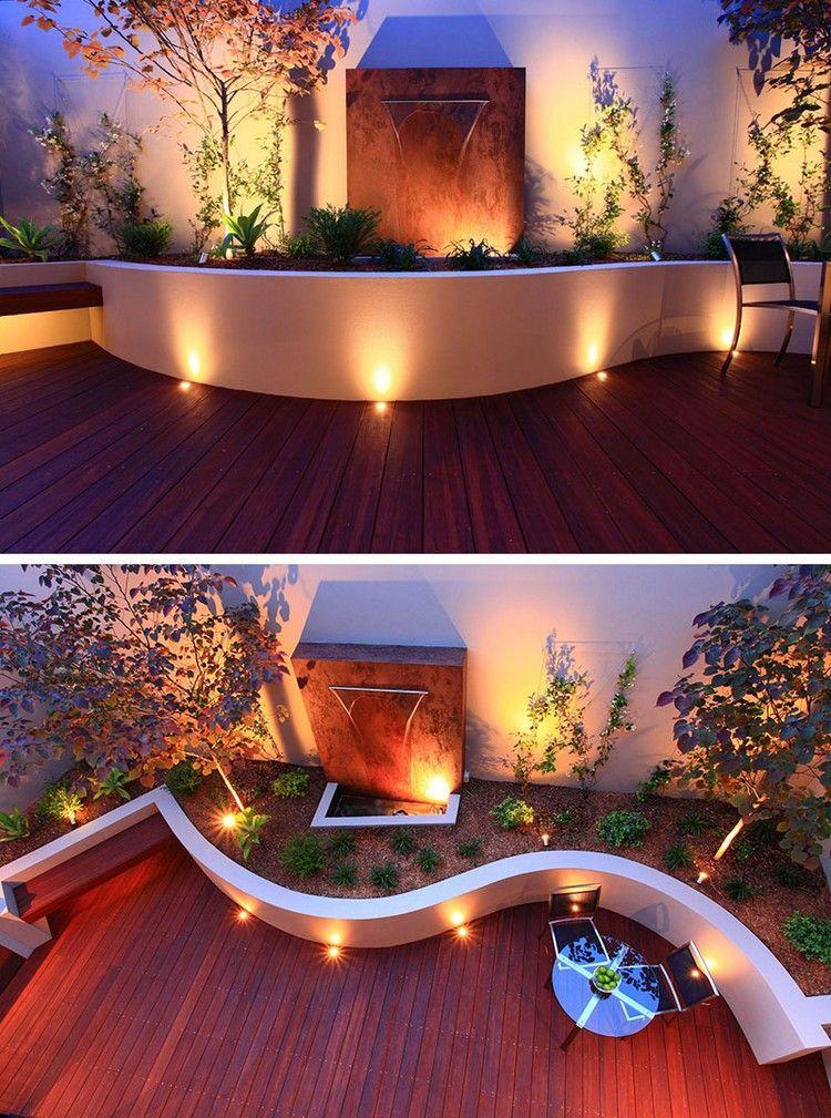 spots encastrables ext rieur sur la terrasse sol en bois. Black Bedroom Furniture Sets. Home Design Ideas