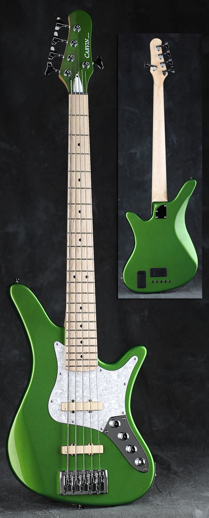 CARVIN SB5000 5-String Bass - Green Body / Bolt-On Maple Neck / 22-fret  Maple Board / Jazz Pickups & Preamp 18 Volt.