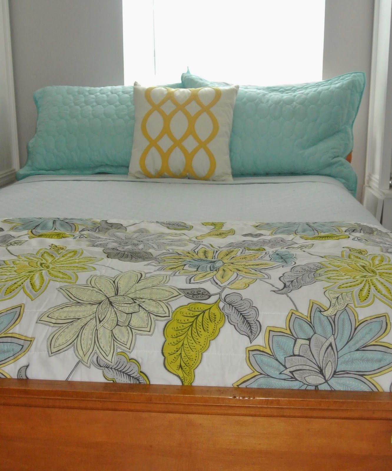 guest bedroom refresh turquoise yellow gray and white