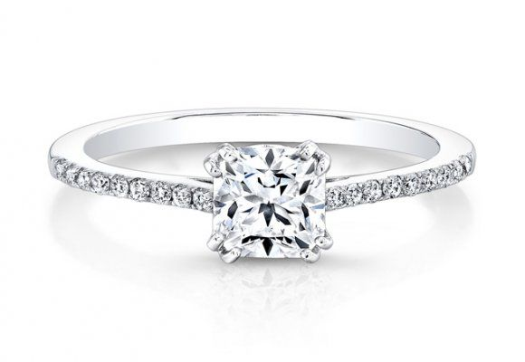 Ideal Square Diamond Prong Engagement Ring front Rings Pinterest