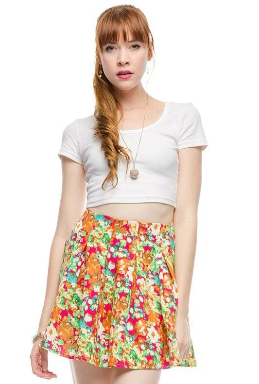 women's fashion | Sincerely Sweet | Pleated Floral Print Skater Skirt in Fuchsia