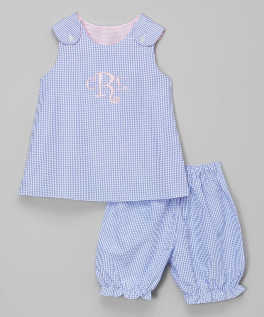 Look at this Rosalina Blue & Pink Monogram Swing Dress & Pants - Infant & Toddler on #zulily today!
