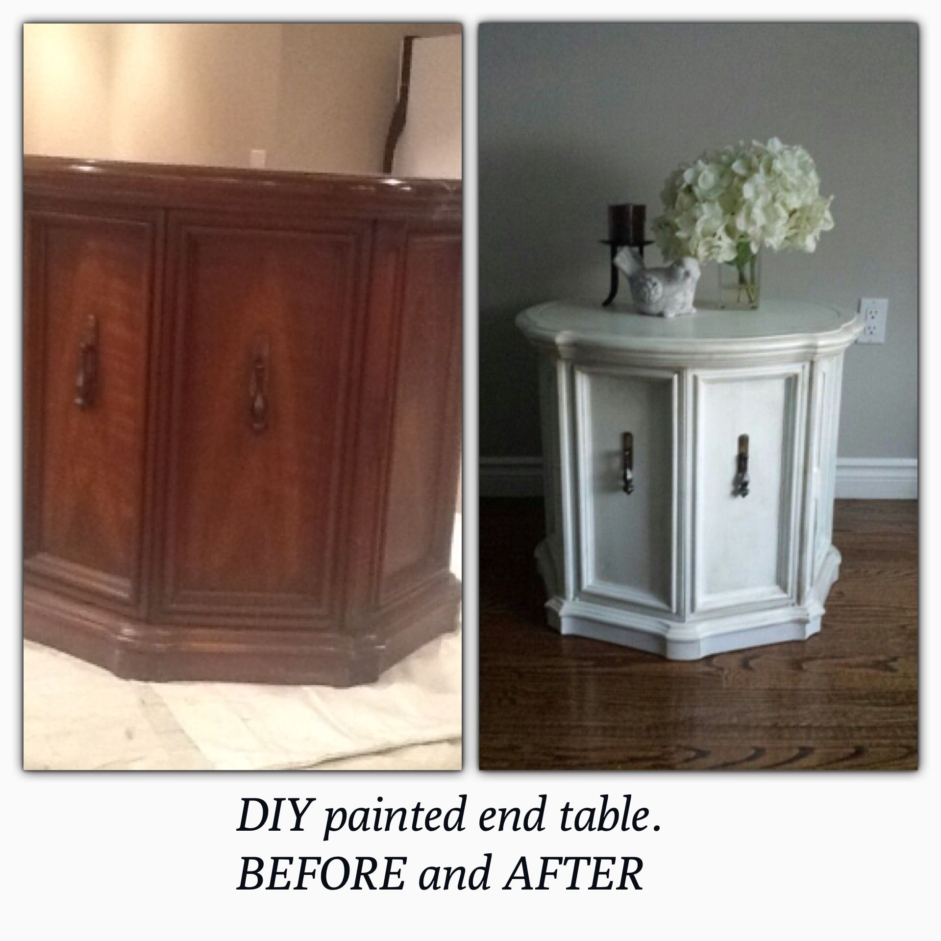 Round Cabinet Style End Table Paint With A Diy Chalk Paint Furniture Makeover Furniture Makeover Diy Furniture Diy
