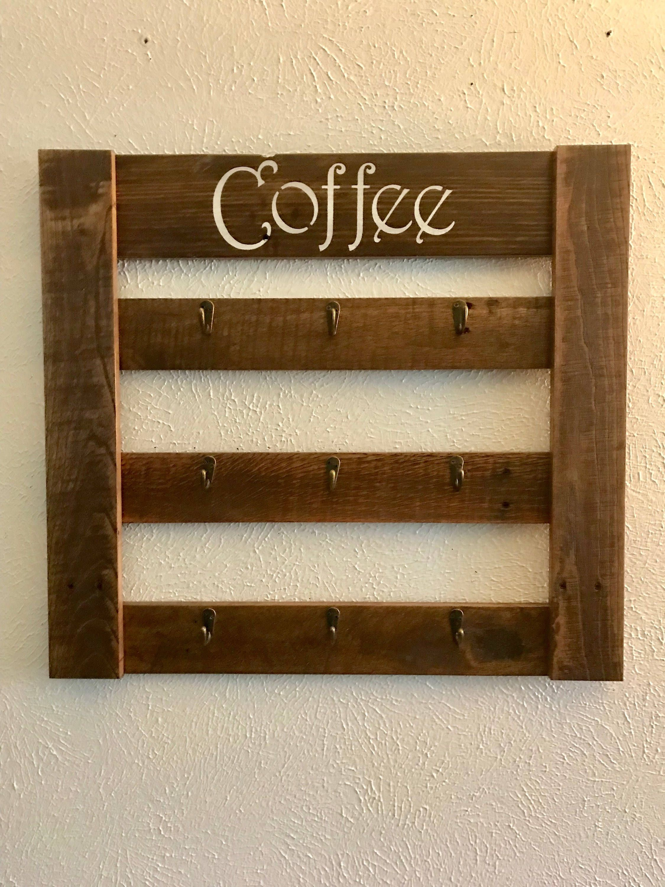 Ordinary Coffee Mug Rack Part - 14: Rustic Coffee Mug Rack! Link To Our Etsy Page Or Message Me To Order. Only  $35!! ? Rustic Coffee Mug Rack,Mug Rack,Rustis Mug Rack,Rustic Dispaly Rack,  ...