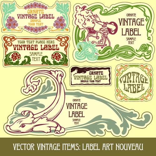 Vintage Label art design vector set 01 - Vector Label free download