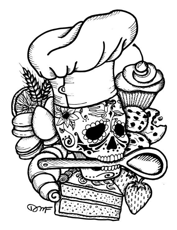 Dia De Los Muertos Chef Baker Black Amp White Baking Tattoo