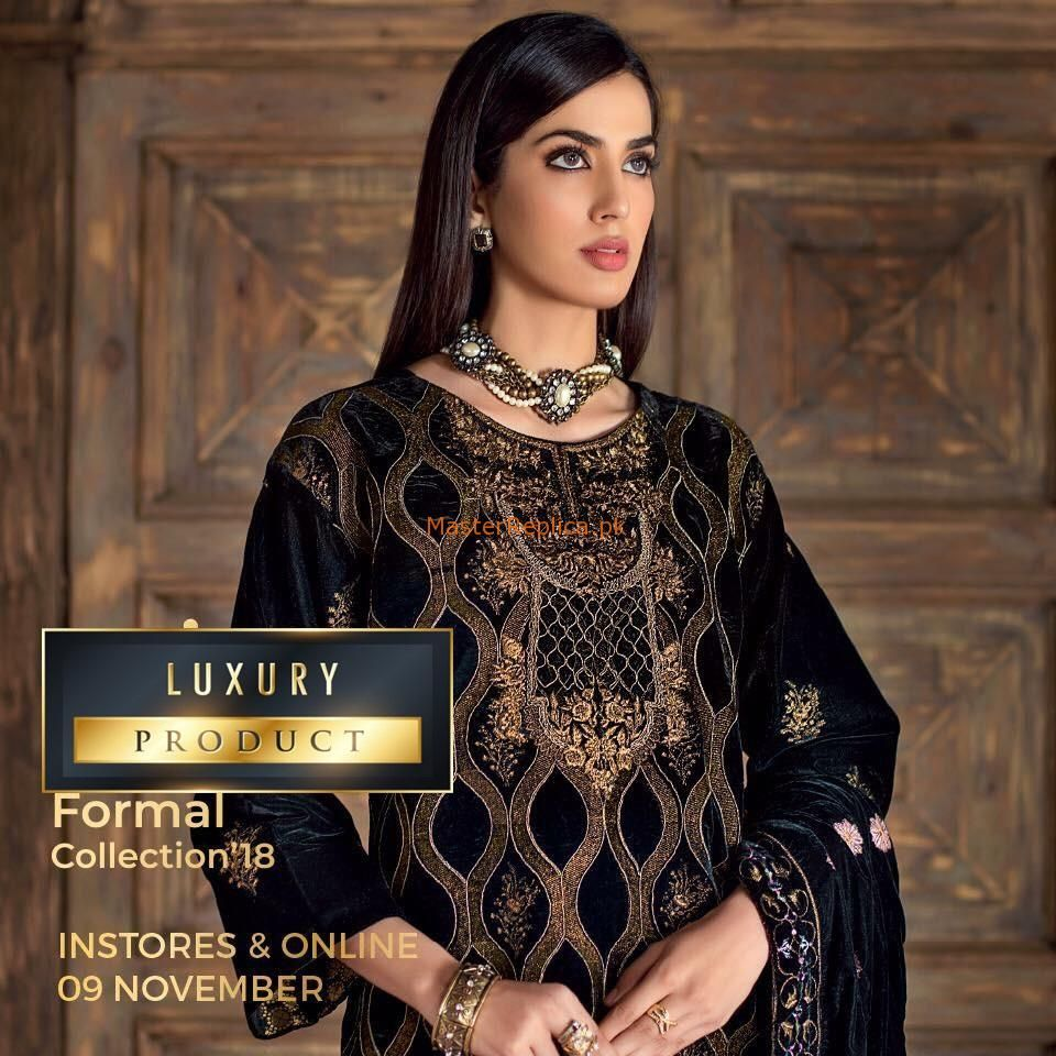 c8fcd7fb75 Check Out GUL AHMED LUXURY EMBROIDERED VELVET WINTER COLLECTION 2018 MASTER  REPLICA at Master Replica Pakistan