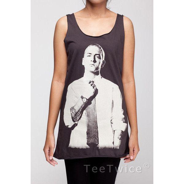 cb3adafd1 Eminem Shirt Slim Shady Hip Hop Rap Rapper Shirts Women Tank Top Black...  ($16) ❤ liked on Polyvore featuring tops, black sleeveless shirt, black  slim fit ...