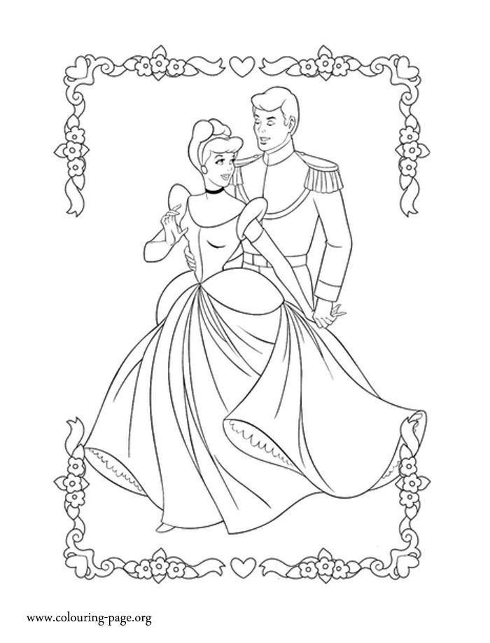 In This Beautiful Cinderella Coloring Sheet You Will Find And Prince Charming Enjoy