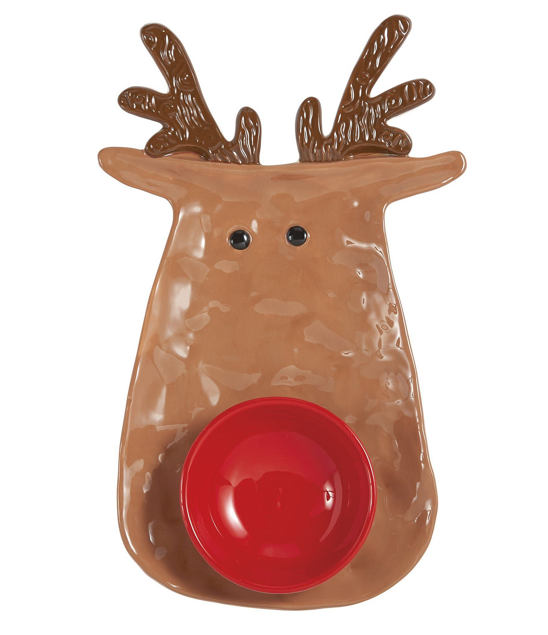 Mud Pie Reindeer Chip & Dip Bowl Dillards Pottery gifts